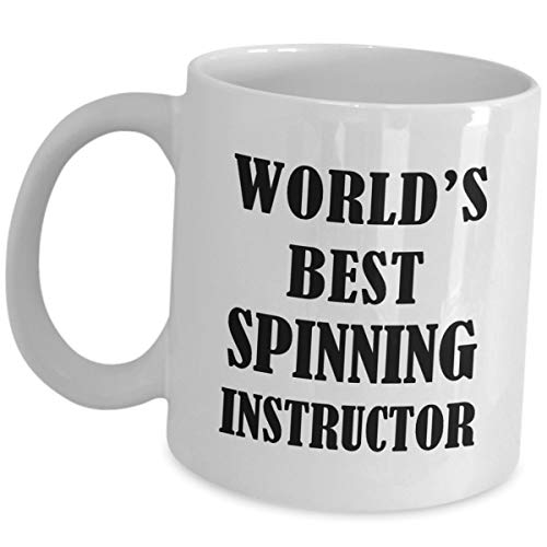 Spinning Instructor Funny Cute Gag Gifts - Worlds Best Spinning Instructor - Coffee Mug Tea Cup Coach Mentor Training Program Education Spin Bike Indoor Cycling Trainer Appreciation Gift Idea