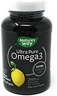 Nature's Way Ultra Pure Omega-3 Extra Strength Fish Oil Supplement, Lemon Flavor Softgels, 60 Ct
