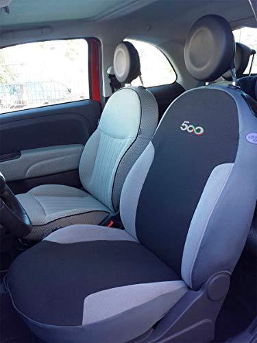 autoSHOP Set Fodera COPRISEDILE su Misura per 500 dal 2007 Posteriore Nero +Grigio SPECIFICARE Sedile Post Intero O Diviso