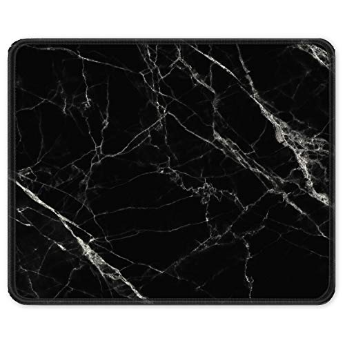 Auhoahsil Mouse Pad, Square Marble Design Anti-Slip Rubber Mousepad with Durable Stitched Edges for Office Gaming Laptop Computer PC Men Women, Cute Customized Pattern, 11.8 x 9.8 Inch, Black Marble