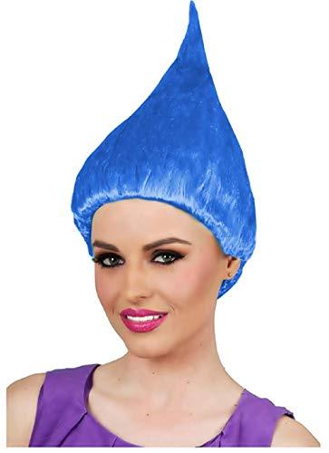 Blauw - trol pruik - accessoires - vermomming - volwassenen - kinderen - unisex - halloween - carnaval