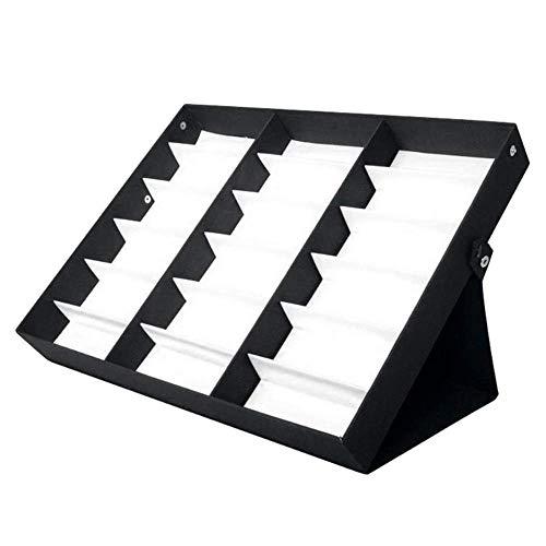 CHUTD 18 Rejilla Organizador de Gafas de Sol, Soporte para Vitrina, Estante de Almacenamiento para Gafas con función de Soporte, para Gafas, joyería, Caja de Relojes