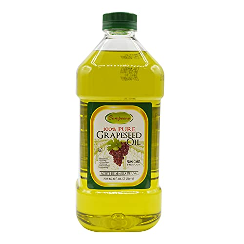 Campeone Pure Grapeseed Oil with Vitamin E Oil and Omega-6 Fatty Acids - Light Tasting Grapeseed Oil for Cooking, Baking and Grilling - Natural and Organic Vegetable Oil (2 Liters)