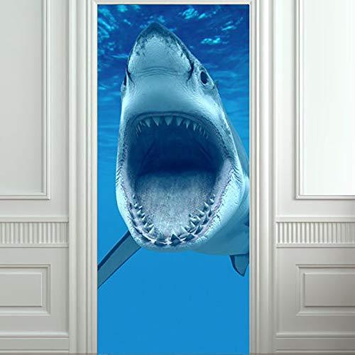 OIODI 3D Vinilos para Puertas Tiburón Animal de Fondo Marino 77x200cm Autoadhesivo Puerta Interior Papel Pintado Murales Arte Posters Pared Decorativas Creativo Etiqueta De La Puerta PVC Impermeable