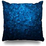 Throw Pillow Covers Funda De Almohada Triángulos Abstractos Gráficos Azules Patrón De Mosaico De Fiesta Geométrica Brillante Diseño Triangular Digital Brillante Decoración Para El Hogar Con Crema
