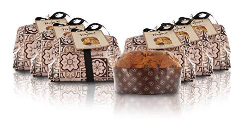 Vergani Panettone al Cioccolato e pere, Antica Ricetta, incartato a Mano, 1kg - Confezione da 6 Pezzi