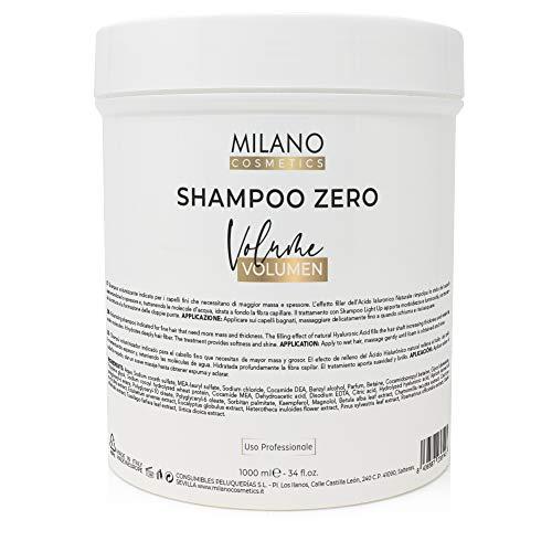 Milano Champú Zero Volumen 1000 ml Sin sulfatos ni parabenos ni siliconas, profesional con efecto relleno natural, incrementando espesor. Hidratante, sensitive cero.