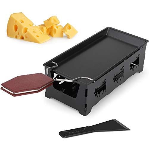 Mini Raclette, hicoosee Antihaft-Käse Raclette Rotaster Ofen mit Silikonspatel zum Schmelzen von Käse, Schokolade Schwarz