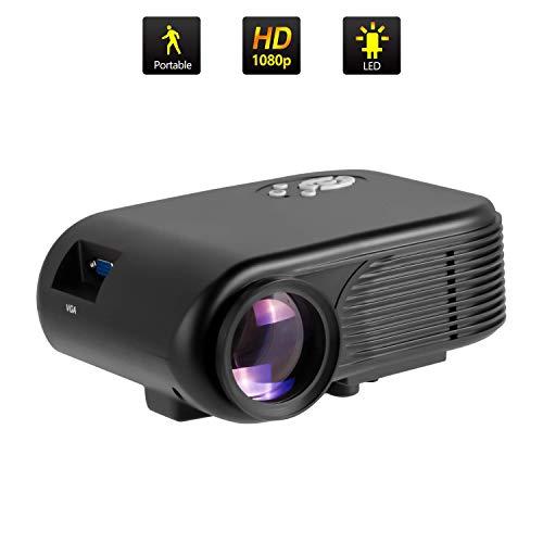 Mini Beamer, ODLICNO 1080P Full HD Beamer Heimkino Video Projektor Tragbar 20000 Stunden LED Kompatibel mit HDMI / USB / SD / AV / VGA Smartphone Tablet TV Videoprojektor für Home (Schwarz)