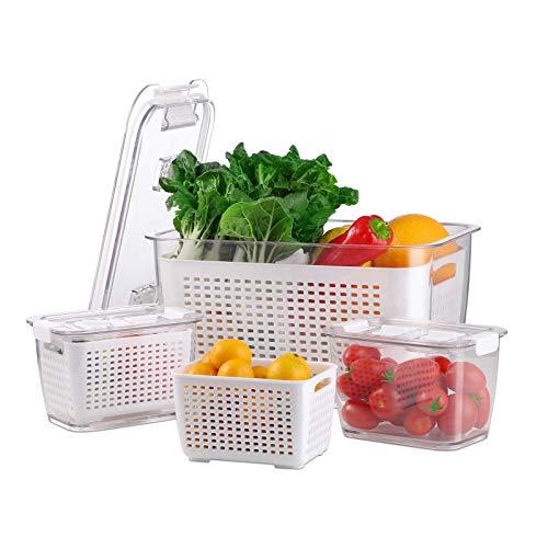 BEYONDA Frischhaltedosen Kühlschrank Set, 3-TLG, Frischhaltedosen Obst Gemüse mit Deckel 4.5L (1x) + 0.48L (2X), BPA frei Gemüse Aufbewahrungsbox, Frischhalteboxen mit Abtropfgitter