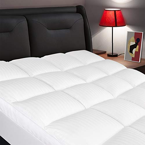 ELEMUSE King Mattress Topper Extra Thick Mattress Pad Cover Plush Quilted Pillowtop with 821 Inch Deep Pocket Soft Hypoallergenic Down Alternative Fill