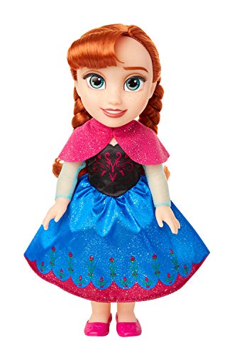 Disney Frozen Anna Toddler Doll with Movie Inspired Blue & Pink Outfit Zapatos y Peinado Trenzado-Aproximadamente 14 Pulgadas de Alto, Color a Partir de 3 años. (Jakks Pacific Inc. 204341)