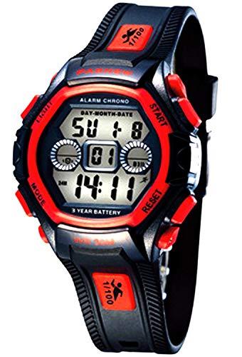 NEW MALL Niños Deporte LCD Digital eléctrica luminiscente impermeable niños/niñas reloj de...