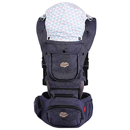 ISEE Ergonomic Baby Carrier with Hip Seat, All Seasons Adjustable Hip Carriers with Lumbar Support Child 7 - 33 lbs, Safety Carrying Comfort Newborn Infant Toddler 0-36 Months