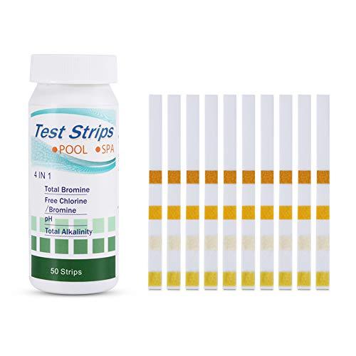 lzndeal 50 Pcs 4 dans 1 Piscine Test Spa Bandes Chlore Libre pH Brome Total Alcalinité Outil De Test De l'eau