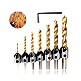 7 PCS Titanium Coated Countersink Drill Bit Set for Wood High Speed Steel, Woodworking Carpentry Reamer Tool Set with Hex Key Wrench