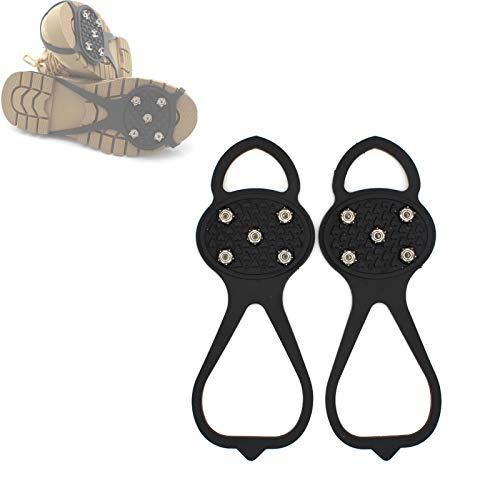 NMSLQ Pinzas Antideslizantes para Zapatos, crampones universales de 5 Pinchos, Tacos duraderos con Buena Elasticidad, fáciles de Poner o Quitar, Tacos de tracción para Caminar sobre Nieve y Hielo