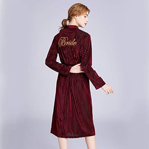 Handaxian Albornoces de Kimono Albornoz Albornoces de Dama de Honor Albornoces cálidos Vestido de Novia Novia Vestido de Noche Rojo M