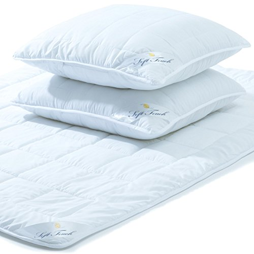 aqua-textil Soft Touch Bettdecke Ganzjahresdecke 200 x 220 cm Set inkl 2X Kopfkissen 80 x 80 cm Winter Sommer Steppdecke