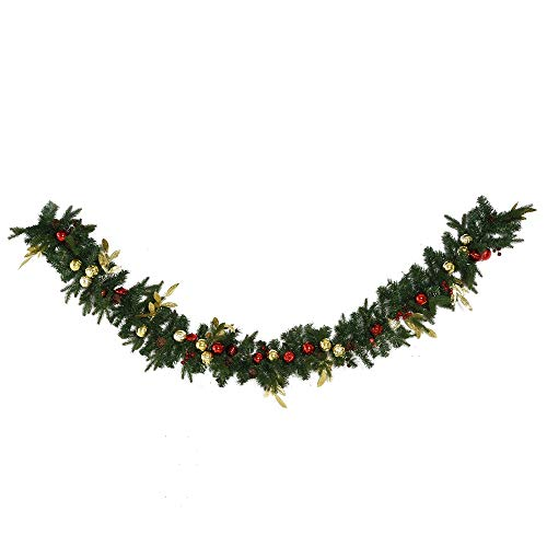 Hypeshops 9FT Pre-Lit Christmas Garland Decoration Artificial Greenery w/Pine Cone Ball