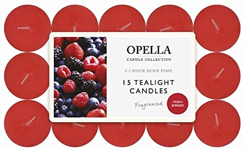 OPELLA Scented Tea Lights Pack of 15 Various scents Candles tealights Fast Post (Fresh Berries)