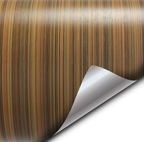 VVIVID Striped Maple Wood Grain Faux Finish Textured Vinyl Wrap Roll Sheet Film for Home Office Furniture DIY No Mess Easy to Install Air-Release Adhesive (1ft x 48 Inch)