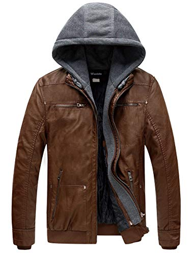 Wantdo Men's Leather Jacket with Removable Hood US Large Brown
