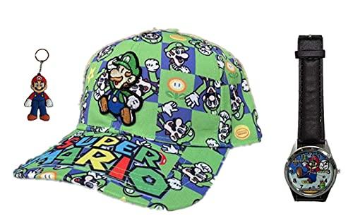 YUMEIJING Reloj Hat Venta al por Mayor Mario Cosido Bordado niño niña Gorra de béisbol Cosplay Plano Casual Hip Hop Sombrero Viaje al Aire Libre Sombrero para el Sol