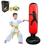 """FOYOCER Saco de Boxeo Hinchable de Niños Saco de Arena Inflable de Pie para Practicar Karate MMA Bolsa de Boxeo Fitness para Nniños 61""""(Bomba de Aire & Pegatinas de Reparación Incluidas) (Rojo)"""
