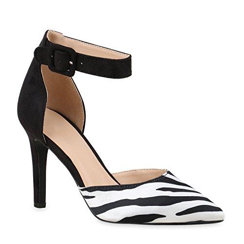 Elegante Spitze Pumps Damen High Heels Lack Stilettos Animal Print Schuhe 133184 Zebra 40 Flandell