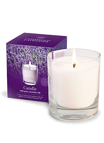 English Pure Lavender Candle by Cotswold Lavender. Quality Waxes, Blended with Pure Lavender Essential Oils. A Rich Scent of Our Lavender Fields in Your Home. 10floz / 300ml