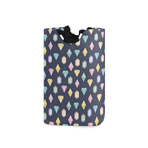 LOSNINA Wäschesammler Wäschekorb Faltbarer Aufbewahrungskorb,Grafische Edelsteine mit verschiedenen Formen Billionen Tropfen und Marquise Schnittmuster,Wäschesack - Wäschekörbe - Laundry Baskets