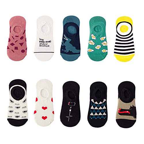 NNNKO Calcetines Invisibles Mujer Algodón Calcetines Cortos Elástco Con Silicona Antideslizante (10 pares color 2)