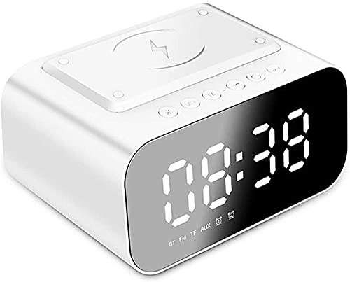 TUIHJA Digital Alarm Clock with Wireless Charging Station, 3 Brightness Snooze White LED Display Digital Alarm Clock with Wireless Charger Compatible with Iphone, Samsung Galaxy and Airpod-white