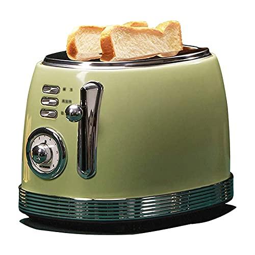 ELXSZJ XTZJ Tostadora de Ranura Ancha 2 Rebanada - tostadora Retro, Acero Inoxidable - tostadora pequeña con Bandeja de miga - 6 ajustes de Tostado, tostadores de 800 vatios - Toster Vintage