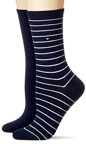 Tommy Hilfiger Unisex-Child Small Stripe Women's (2 Pack) Socks, Midnight Blue, 39/42 (2er Pack)