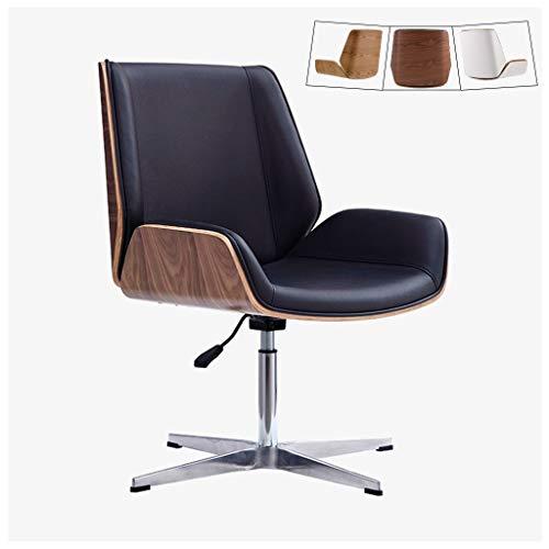 Silla de escritorio de oficina moderna de mediados de siglo con tapicería de cuero Cipri, silla giratoria sin brazo de altura ajustable, sillas ejecutivas con respaldo medio, patas de acero inoxidable