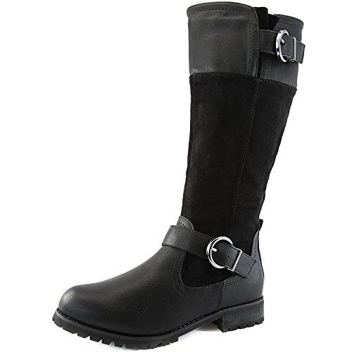 Dailyshoes Women's Modern Mid-calf Combat Boot Cozy High Memory Foam Bootie Winter Shoes Non Skid Indoor Outdoor Sole Boots For Women Combat-zero Black Sv 8.5