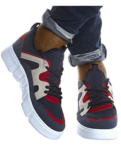 Leif Nelson Herren Schuhe für Freizeit Sport Freizeitschuhe Männer weiße Sneaker Sommer Coole Sommerschuhe Sportschuhe Weiße Schuhe für Jungen Winterschuhe Halbschuhe LN203;43, D.Blau-Rot