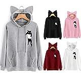 Sudadera de Manga Larga para Mujer Orejas de Gato Sudadera con Capucha Impreso Causal Tops Blusa Camisa Mujer Formula Joven