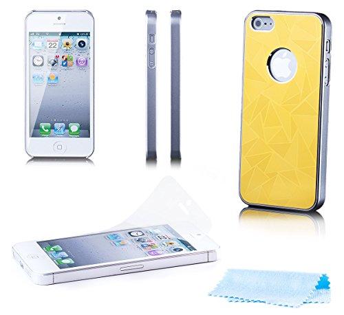 iCues Apple iPhone SE / 5S / 5 Delta Alu Cassa in Oro | [Protettore Che Include Uno Schermo] Protettiva della Pelle Metallizzato Metallo di Alluminio di CNC di prote Custodia Cover Case Tasca Borsa