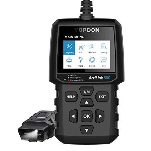 TOPDON ArtiLink AL500 Escáner OBD2 con Funciones OBDII Completas Leer y Borrar Códigos Preparación ITV AutoVIN Menús de Ayuda incorporados Búsqueda DTC Impresión Datos con Luz LED Búsqueda Puerto OBD