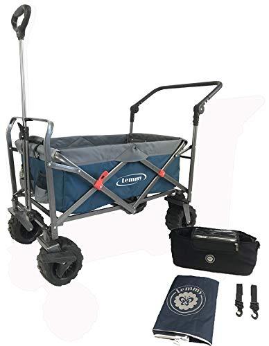 Lemmy Bollerwagen faltbar LMY100 Blau+Grau,Organiser Tasche, Regenschutzhülle, GS geprüft, klappbar, Vorderrad-Bremse, PU Reifen… (Set1, Blau+Grau)