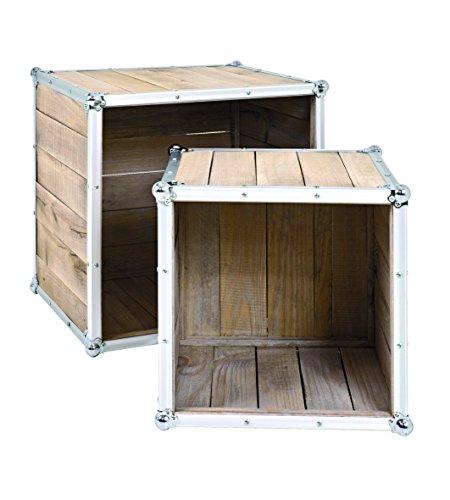 Haku Möbel 28151 Lot de 2 Tables Bois Pin/Aluminium 37/47 x 37/47 x 35/40 cm