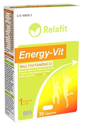 Multivitaminas Energy Vit – 30 Cápsulas | Relafit - Laboratorios MS | Dosis 1 Mes | Vitaminas A B1 B2 B5 B6 B8 B12 C D3 E y Minerales | Reduce el cansancio, la fatiga y refuerza el sistema inmunitario