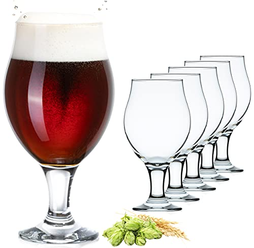 PLATINUX Tulipani di Birra Bicchieri di Birra Set 6 Pezzi 500ml (max. 560ml) Tazze di Birra Vetro Birra Girevole