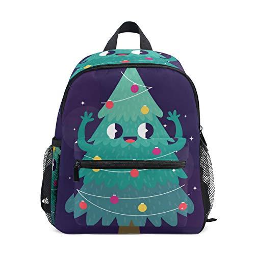 Schultasche süßer Cartoon-Weihnachtsbaum Smiley Stern Vorschulrucksack Kinder Reise Daypack für Jungen Mädchen