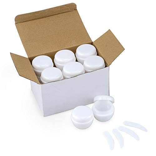 LONGWAY 1 oz (30ml) Mini Beauty Clear Plastic Travel Lotion Scrub Container Jars with Lids sample Size/Small Plastic Travel Cosmetic Containers with Lids for Lotions and Creams (Pack of 12, White)