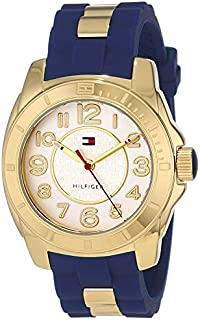 Tommy Hilfiger Womens 1781307 Casual Sport Gold-Plated Case and Links with Silicone Strap Watch