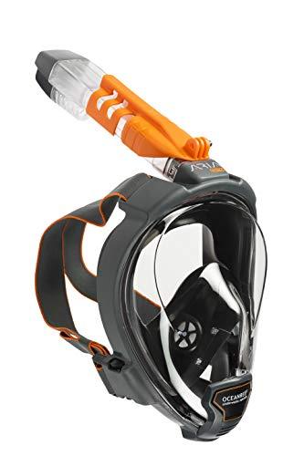 OCEAN REEF - ARIA QR+ Schnorchelmaske - Tauchermaske mit Mundstück - Für eine bessere 180 Grad Unterwassersicht - Unisex - Schwarz - Größe M/L